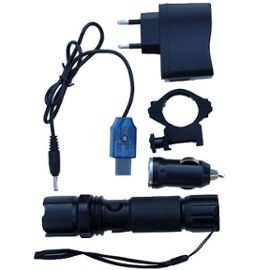 Flashlight rechargeable (12V+220V+ring 25.4mm+cable USB)
