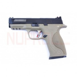 Pistola E Force Big Bird FDE Vented bk slide/silver barrel WE