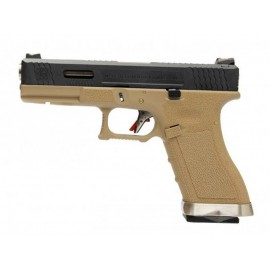 Pistola EU17 E Force tan (black slide and gold barrel) [WE]