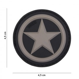Patch 3D PVC USA Star grey