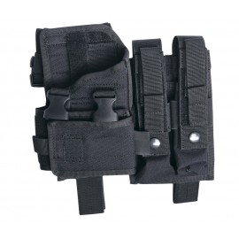 Adjustable thigh holster w mag pouches MP5K/MP7/M11 bk [ASG]