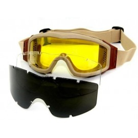 Tactical Goggles tan w/ 3 Lens [Evolution]