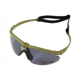 Tactical Battle Glasses Green Frame / Smoked Lense [NP]