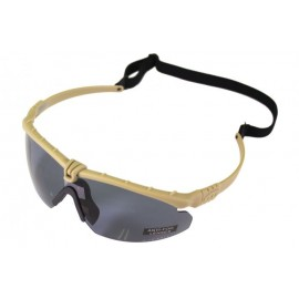 Tactical Battle Glasses Tan Frame / Smoked Lense w Insert [NP]