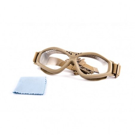 Helmet Mounted Tactical Goggle Clear Lenses tan [PJ]